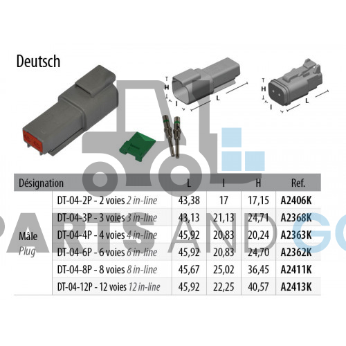 2-way male connector kit